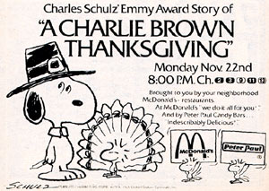 Charlie Brown Thanksgiving ad