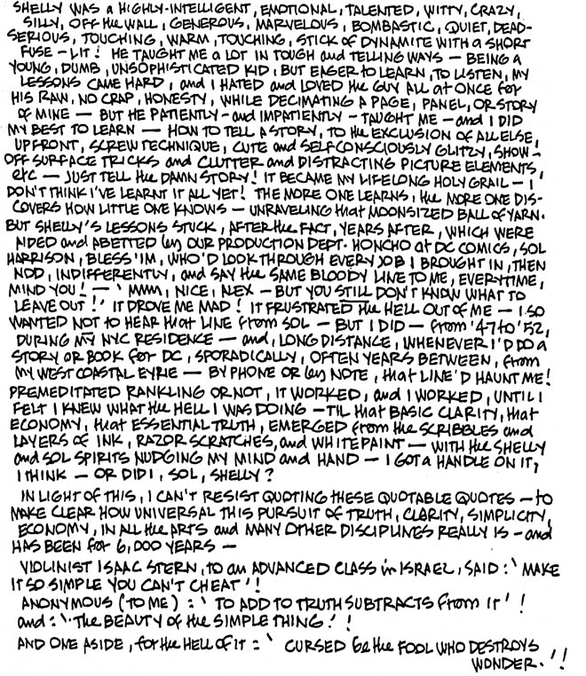 Alex Toth letters