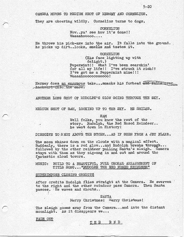 Rudolph the red nosed reindeer tv special script
