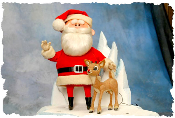 the red reindeer and santa Rudolph nosed