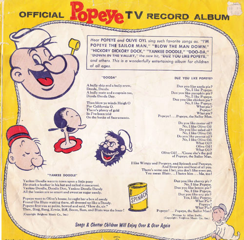 popeye Capt Allen Swift kiddie records