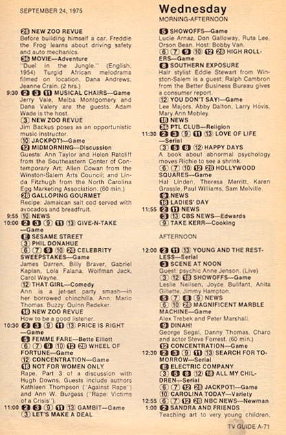 Game Shows / TV Guide listing for 1975