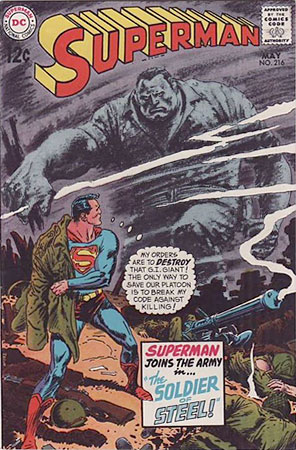 Joe Kubert cover on Superman comics #216