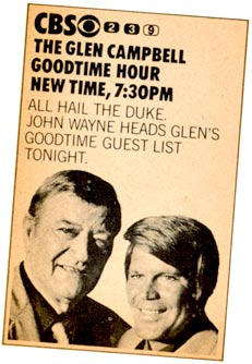 ad for John Wayne TV Appearance