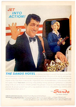 Dean Martin photo ad for the Sands hotel in Las Vegas